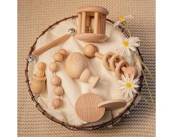 Wooden Baby Rattle Set / Montessori Infant / Motor Development Set