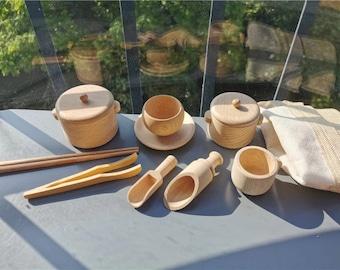 Wooden Sensory Set and Tray /11 pcs Sensory play activities toys, Sensory scoops, Wooden sensory bowls and scoops