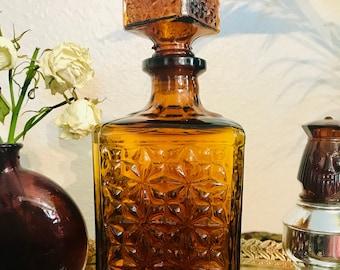 Amber Glass Decor Bottle