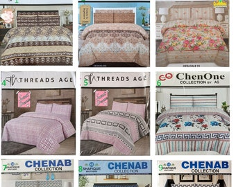 Double Bed King Size Flat Bedsheet With 2 Pillow Cases