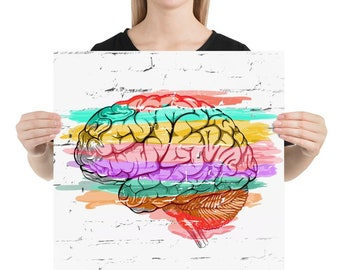 FINE ART PRINTS - Abstract of brain color coded emotions