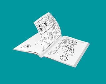 """Kids activity book """"Body Parts"""", coloring pages, 7+ different types of mind stimulating activities. 10 animal coloring pages (included). PDF"""