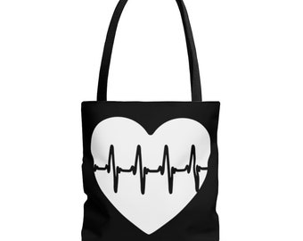 Double Sided ECG-HEART prints - Medical Enthusiasts Ideal Tote Bag - PRBC Bag™
