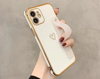Electroplated Heart Strap iPhone 13 12 11 Pro Max case iPhone 13 12 mini case iPhone XS Max Case iPhone XR iPhone 7 8 Plus iPhone SE Case