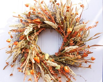 24 Inch Autumn Fall Wreath, Autumn Decorations