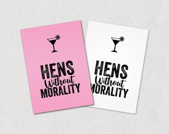 Hens Without Morality, cards against humanity style hen party game, PRINTABLE, hilarious hen night game, horrible hens, filthy hen do game