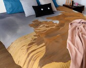 Desert Fossil Rocks Print Throw blanket by Filscot Studio | Amazing fossil rocks in the Arabian desert, bed throw, couch throw.