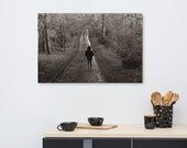 A Long Lonely Walk through the forest on Large Canvas
