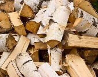 Split White Birch Logs for Firewood, Bundle of white birch Logs.