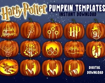 Potter Pumpkin Carving Stencils  | A4 Jack O Lantern Template Patterns