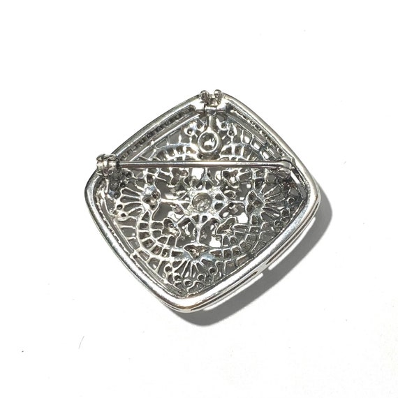 Victorian Reproduction 18k White Gold and Diamond… - image 2