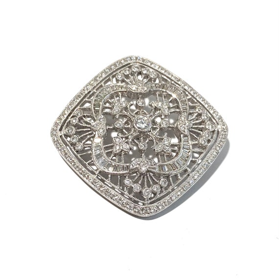 Victorian Reproduction 18k White Gold and Diamond… - image 1