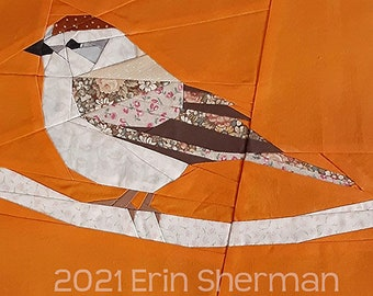 Chipping Sparrow Paper Piecing Pattern