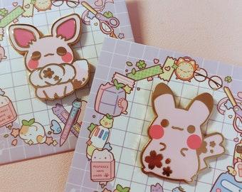Pikachu and Eevee Enamel Pins