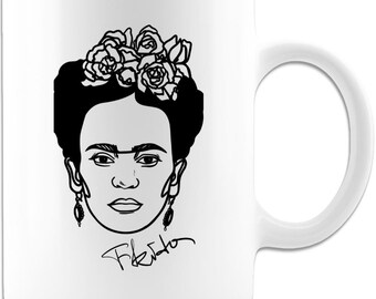 Frida Kahlo white coffee mug or tea cup, Feminist Mug. Great for any occasion. Perfect gift item .