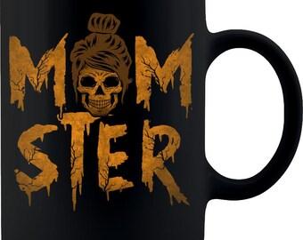 Momster coffee mug 11oz Black , funny mom cup, Family Halloween mug.