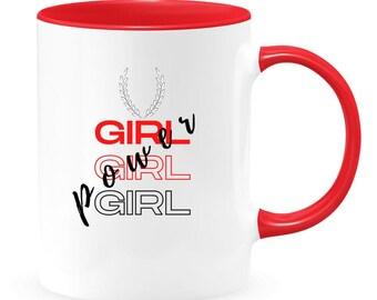 GIRL POWER two-toned coffee mug, Girl travel mug, fun women coffee mug, gift for girl, mom, wife.