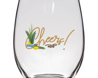 Sukkot Glassware - Stemless Wine Glass .Jewish Holidays Gift Four species Etrog, lulav, willow and myrtle branches.