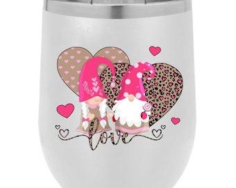 Love Gnomes polar camel - 12 Oz stemless wine glass tumbler w/lid, Valentines day gift.