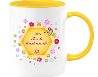 Happy Rosh Hashanah two-toned coffee mug or tea cup. Jewish Holiday Gift