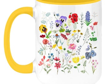 Wildflowers watercolor illustrations, two-toned coffee mug or tea cup. Best Plant Themed Gift for mother day ,Christmas and Birthday.