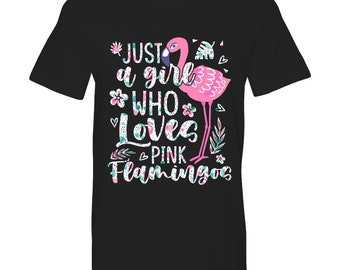Just A Girl Who Loves Flamingo Shirt, Flamingo Gift for Birds Lover, Birthday Party Present