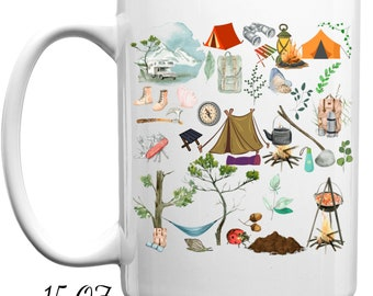 Camping white coffee mug or tea cup, travel mug, campfire mugs, fun gift ideas for husband, friend.