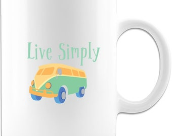 Live simply white coffee mug or tea cup, Positivity mug, Simply the best, Unique mug great for any occasion.