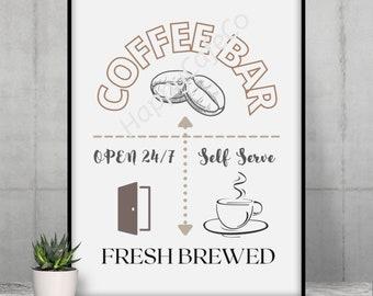Coffee Bar Fresh Brewed Digital Print
