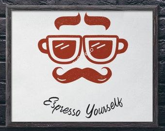 Espresso Mustache Digital Print