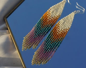 Sweet Orange and Blue Beaded Earrings,Dangle Earrings, Gift for Girlfriend , Niece gift, Aesthetic earrings