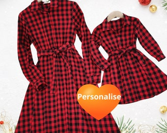 mum and daughter dress, personalised matching dresses, mummy and daughter outfit, mommy and me, matching clothes, Christmas dress, tartan