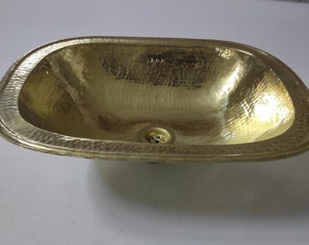 """Handcrafted Oval Solid Brass Sink, Drop In Customizable Brass Sink (17,7""""x14,2"""")"""