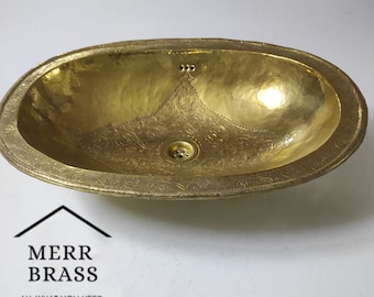 """Handcrafted Moroccan Pattern Etched Oval Solid Brass Sink, Drop In Customizable Brass Sink (17""""x13"""")"""