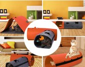 Cat Tunnel Toy Removable Felt Cat Nest House Puppy Ferrets, Rabbit and Dog Play. Pet Cat Tunnel - Collapsible 4 Way Play Toy - Tube Fun