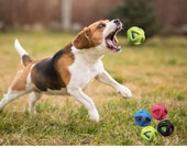 """3"""" Dog Tennis Ball Interior With TPR Coated and a Rubber Ring Exterior Fetch Agility Toy - Interactive Dog Chew Toy for Boredom"""