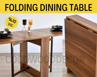 Portable Folding Dining Table, Walnut Folding Kitchen Table, Space-saving Dining Table, Dining Room Table, Practical Dining Table