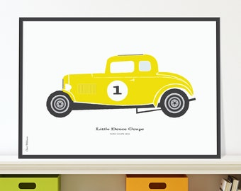 32 Ford Deuce Coupe Jpeg download. Bright yellow hot rod car poster for kids room