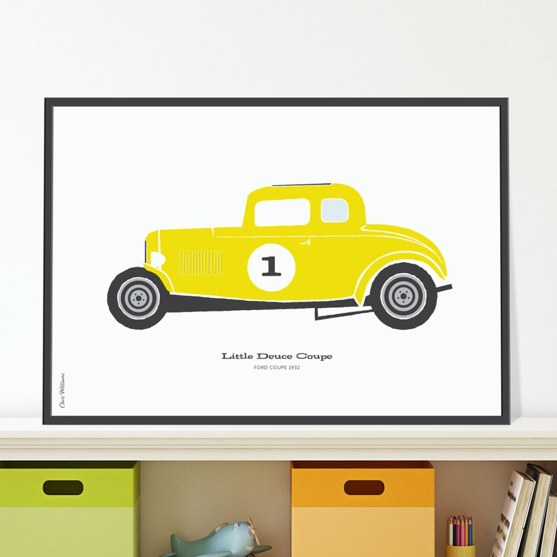 32 Ford Deuce Coupe Jpeg download. Bright yellow hot rod car image 0