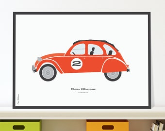 Citroen 2CV Jpeg download. Classic French car for childrens room