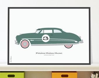 Hudson Hornet Jpeg download. Vintage American car print for 3 year old.