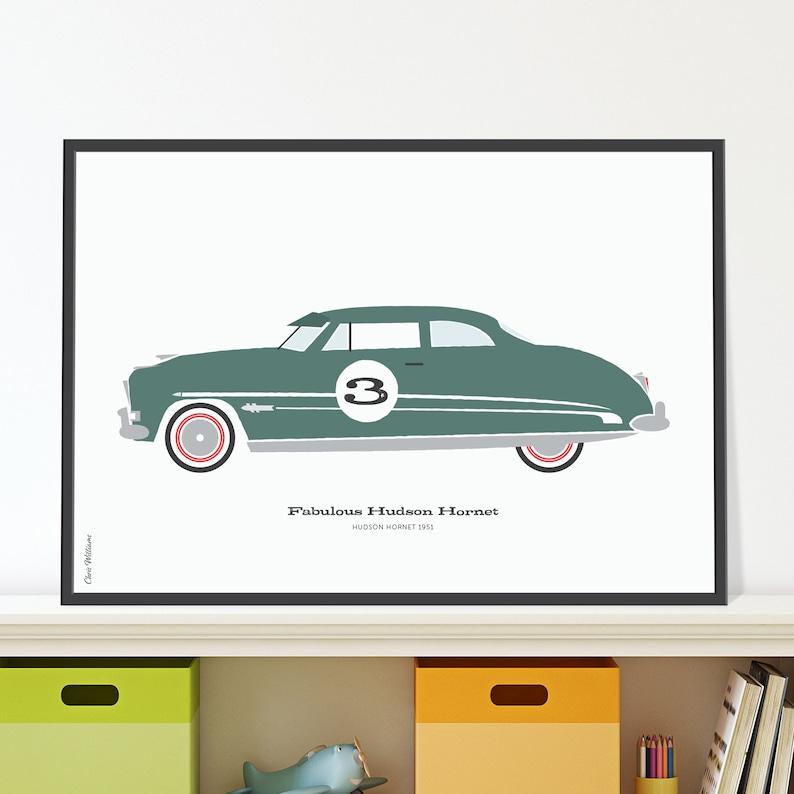 Hudson Hornet Jpeg download. Vintage American car print for 3 image 0