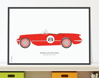 Little red Corvette Jpeg download. Classic car print for 8 year old