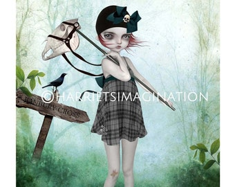 Goth Girl Art Print, Banbury Cross - HarrietsImagination