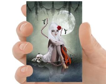 Gothic Fantasy Art ACEO Print, Goth Girl ACEO Card - HarrietsImagination