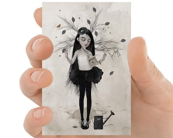 Dreaming Girl ACEO Print, Surreal Art ACEO Card - HarrietsImagination