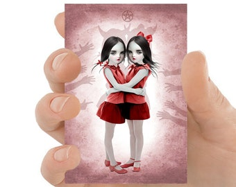 Demon Girl Art ACEO Print, Creepy Sisters ATC - HarrietsImagination