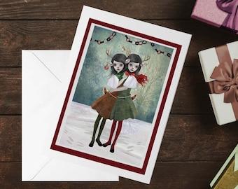 Wildlings Christmas Card, Antler Girl Card - HarrietsImagination
