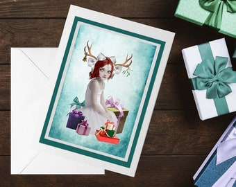 Antlers Girl Christmas Card, Art Xmas Card - HarrietsImagination