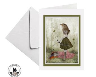 Bird Girl Greeting Card, Suitable For Framing - HarrietsImagination